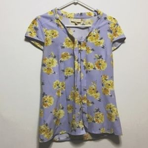 ModCloth Lavender & Yellow Pussybow Blouse